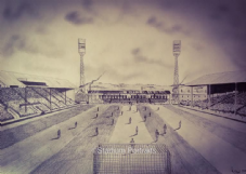 Leeds Road, Huddersfield Town Pencil Drawing  20'' x 30'' Box Canvas Print